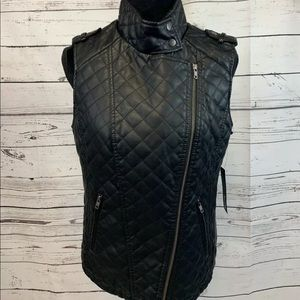 Apt 9 Faux Leather Vest Medium Black Zipper NWT